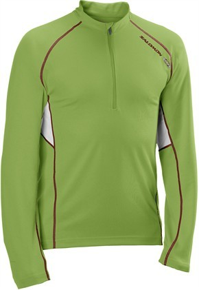 triko Salomon Trail Runner LS Zip M green